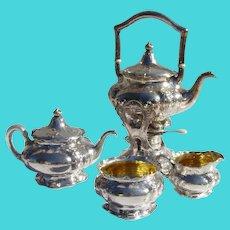 Martele 4 Piece Tea Service Gorham 950 Sterling Silver 1900s Mono D