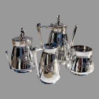 Gorham Floral 4 Piece Tea Set Cherub Finials Sterling Silver 1869 Mono H