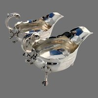 English Gravy Boats Pair Barnards Inn Crest George Ibbot Sterling Silver 1762