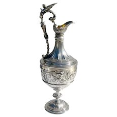 Renaissance Revival Claret Jug Edward Hutton Sterling Silver 1869 London