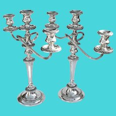 Cambridge 3 Light Candelabra Pair N 1771 Gorham Sterling Silver