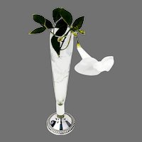 Acid Etched Glass Vase Gadroon Base Duchin Sterling Silver 1940s