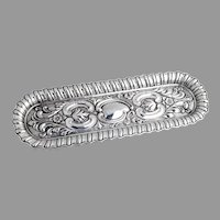 English Repousse Long Oval Pin Tray Robert Pringle Sterling Silver 1903