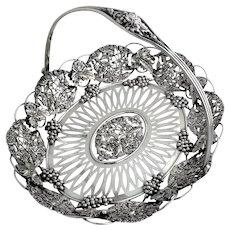 Grapevine Cupid Openwork Basket Swing Handle Sterling Silver 1910