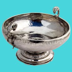 French Footed Bowl Rams Head Handles 800 Silver 1840 Mono