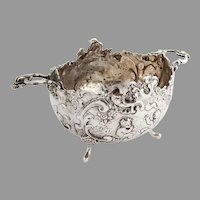 German Baroque Style Scenic Footed Bowl Hanau 800 Silver 1900