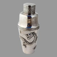 Dragon Cocktail Shaker Wang Hing Chinese Export Silver 1890 Mono ACA