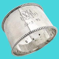 Danish Large Beaded Napkin Ring 830 Standard Silver 1887 Mono PM