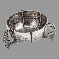 Sanborns Figural Engraved Open Salt Dish Sterling Silver 1940 Mexico