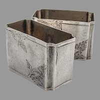 Russian Engraved Rectangle Napkin Rings Pair Matte 84 Standard Silver