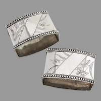 Beaded Floral Rectangle Napkin Rings Pair Russian Sterling Silver