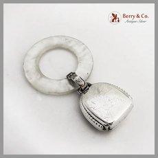 Webster Beaded Baby Rattle Teething Ring MOP Sterling Silver