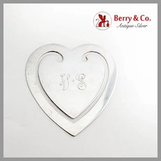 Tiffany Heart Form Bookmark Sterling Silver Mono VS