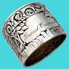 German Repousse Rose Napkin Ring Bruckmann 800 Silver 1900 Mono