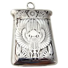 Egyptian Revival Winged Scarab Match Safe Blackinton Sterling Silver 1900