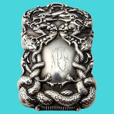 Repousse Dragon Snake Match Safe Sterling Silver 1900 Mono MB