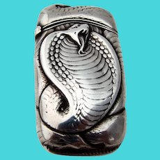 Gorham Cobra Match Safe Sterling Silver 1900 Mono GDE