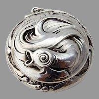 Art Nouveau Fish Pill Box Gilt Interior La Pierre Sterling Silver