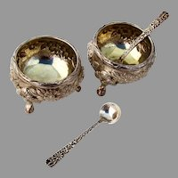 Floral Footed Open Salts Spoons Pair Yuchang Chinese Export Silver