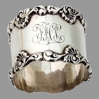 Shell Scroll Border Napkin Ring Towle Sterling Silver Mono FHL
