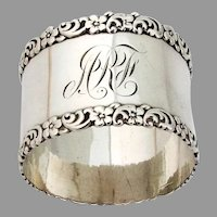 Floral Scroll Napkin Ring Sterling Silver 1900 Mono ARF
