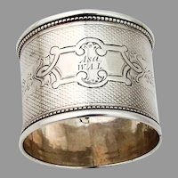 Engine Turned Beaded Napkin Ring Coin Silver 1860s Mono