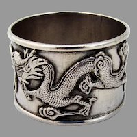 Figural Dragon Napkin Ring Chinese Export Silver 1900