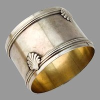 French Banded Shell Napkin Ring Gilt Interior 950 Sterling Silver 1900