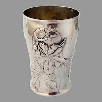 French Chestnut Beaker Gilt Interior Henin Cie 950 Sterling Silver 1900s