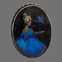 English Painted Portrait Beaded Frame Thomas Mott Sterling Silver 1928