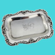 Foliate Scroll Rim Dresser Pin Tray Gorham Sterling Silver 1898 Mono Mae