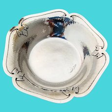 14th Century Hammered Candy Bowl Shreve Sterling Silver