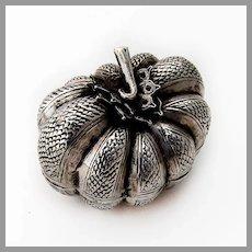 Pumpkin Form Betel Nut Box Engraved Sterling Silver 1920s