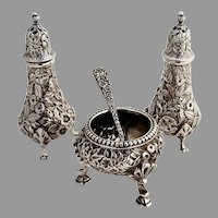 Kirk Repousse Shakers Open Salt Dish Salt Spoon Set Sterling Silver 1880