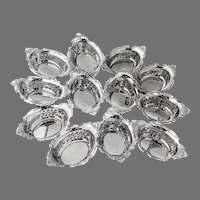 Cromwell 12 Nut Cups Set Gorham Sterling Silver 1900 Mono CC
