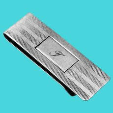 Tiffany Banded Money Clip Sterling Silver Mono T
