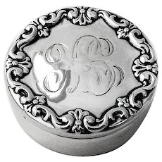 Repousse Scroll Round Pill Box Whiting Sterling Silver Pat 1893 Mono GK