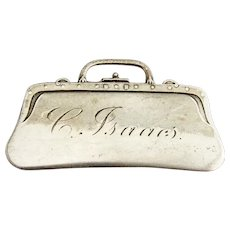 Purse Form Luggage Tag Label Frank Whiting Sterling Silver Mono