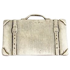 Suitcase Form Luggage Tag Label Sterling Silver No Mono
