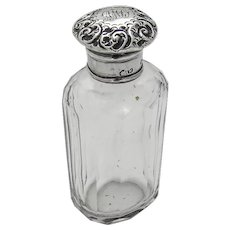English Cut Glass Cologne Bottle Repousse Lid Sterling Silver 1896 Mono AML