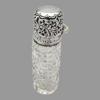 English Cut Glass Scent Bottle Floral Lid Miller Bros Sterling Silver 1896