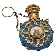 French Scenic Perfume Bottle Blue Glass Gilt Bronze Overlay Ring Handle