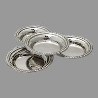 Gadroon Border Round Nut Cups Dishes Set Sterling Silver