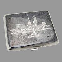 Siamese Niello Scenic Cigarette Case Sterling Silver 1950
