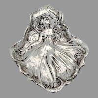 Art Nouveau Dresser Tray Female Figure Gorham Sterling Silver 1900