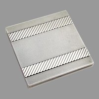 Art Deco Engine Turned Cigarette Case French 950 Sterling Silver 1930