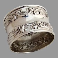 Repousse Floral Scroll Napkin Ring Gorham Sterling Silver No Mono