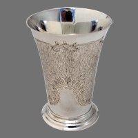German Textured Footed Beaker Wilhelm Binder 800 Standard Silver