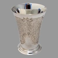 German Textured Footed Beaker Wilhelm Binder 800 Standard Silver