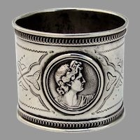 Medallion Napkin Ring Applied Rims Coin Silver Mono V Giordano